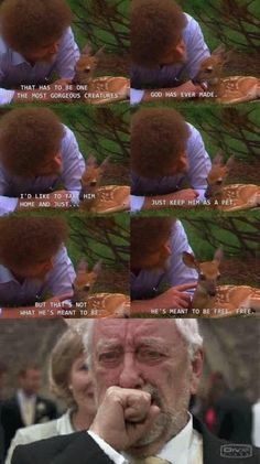 Bob Ross was one of the most wholesome people to exist. Get Daily Ross … - funny photo hilarious Most Hilarious Memes, Stupid Memes, Funny Relatable Memes, Funny Jokes, Funny Minion, Funny Commercials, Funny Humour, 9gag Funny, Funny Pranks