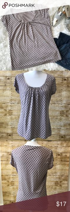 Boden polka-dot top Pre-loved• Boden polka for top• Lavender with navy blue dots• front of top has a lining. perfect to pair with jeans• no stains/ fading• has 2 minor flaws ( check pictures for flaws & measurements) • price reflects flaws• no trades• bundles & offers welcomed Boden Tops