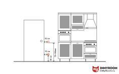 Расположение дополнительных розеток на кухне, например, для пылесоса,  осуществляется на высоте 30–40 см от пола, а выключатели устанавливаются на высоте 75–90 см и в 10–15 см от дверного косяка. Иногда общий кухонный выключатель выносят в коридор.