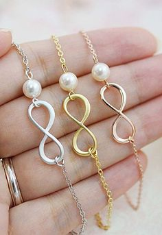Infinity and Swarovski Pearl necklace , infinity necklace, bridesmaid gift…