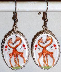 Ohrringe Giraffe Tier Damen Ohrschmuck Modeschmuck Hänger Cabochon Glas