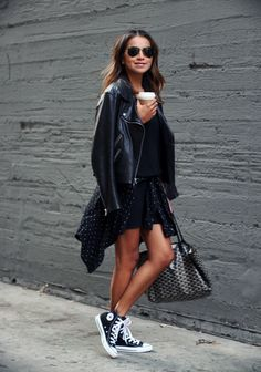 Sincerely Jules / Leather Jacket / Goyard Tote Bag / Converse Sneakers http://FashionCognoscente.blogspot.com