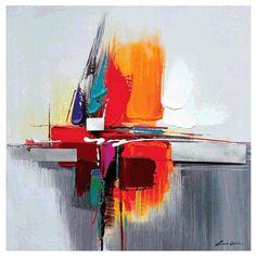 Peinture abstraite orange et gris avec effet bleu, art-déco, véritable huile sur toile. Montée sur châssis. Format carré. Trois dimensions : 60*60, 80*80 cm et 100*100 cm. Toile abstraite signée.
