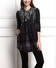 Charcoal Damask Plaid Button-Front Side-Pocket Tunic - Plus Too