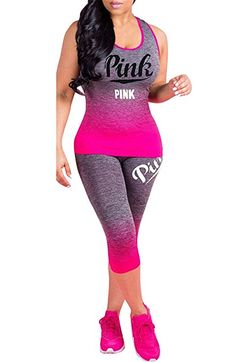 f5840a1ea0512 Sibylla Women s Pink Print 2 Pieces Tracksuit Sweatsuit Bodycon Outfit  Sleeveless Tank Top Skinny Capri Leggings