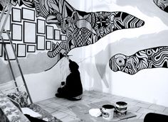 Gallery For U003e Painted Wall Murals Black And White Part 9