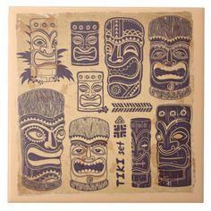 Vintage Tiki Set Ceramic Tile