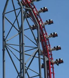 The first drop on the X2 roller coaster at Six Flags Magic Mountain