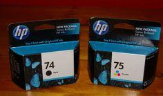 Genuine HP 74 75 Black & Tri-Color Printer Ink July 2011 HP 74 Black HP 75…