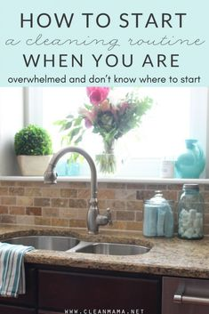 How to Start or Re-Start a Cleaning Routine When You are Overwhelmed Feeling overwhelmed? Start here! How to start a cleaning routine when you are overwhelmed. Deep Cleaning Tips, House Cleaning Tips, Cleaning Solutions, Spring Cleaning, Cleaning Hacks, Cleaning Schedules, Cleaning Checklist, Cleaning Routines, Cleaning Lists
