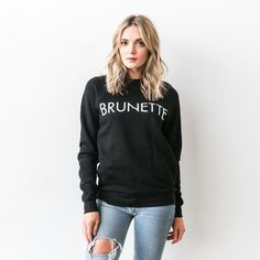 This Brunette crew is inspired by a friendship between a blonde and a brunette. This black crew neck is a limited edition collaboration between Cara McLeay from A Fashion Love Affair, and Brunette the Label. We can't wait to see you and your blonde BFF rocking this set. As seen on Jillian Harris