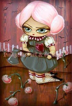 Big Eyed-Broken Heart Garden Girl-Kawaii Noir Fairy Tale-Pinkytoast Art Print