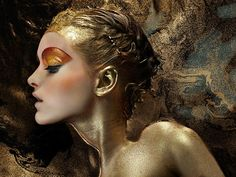 Gold Woman Body Painting | ... Crawford Dresses Models in Paint « Art Installations « Mayhem & Muse