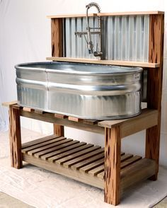 34 Elegant Garden Sink Design Ideas That Must Have To Outdoors - Sinks are often used as a container for plants, especially for alpines or rock plants. Sinks are mostly used at patios and give them attractive featur. Outdoor Sinks, Diy Outdoor Kitchen, Rustic Outdoor Kitchens, Outdoor Garden Sink, Outdoor Showers, Outdoor Spaces, Outdoor Living, Outdoor Dog Area, Outdoor Bars