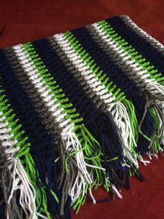"""$95  Seattle Seahawks Colors Inspired Handmade Fishnet Crochet Afghan Blue Green White 60"""" x 44"""" Football Stadium Game Day Blanket Throw"""