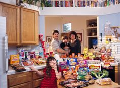 United States: The Caven family of California. Food expenditure for one week: $159.18. Favorite foods: beef stew, berry yogurt sundae, clam chowder, ice cream