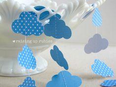 paper garland  clouds & polka dots  nursery by raisinguprubies, $16.00