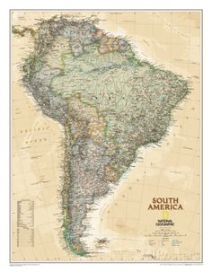 From the Isthmus of Panama to the southern reaches of Cape Horn, National Geographic's wall map of South America combines beauty with function. The antique-style Executive map uses a rich color palette and stunning shaded relief that fits with any decor. Travel Maps, Travel Posters, Travel Quotes, Executive Fashion, Executive Style, Executive Office, Argentina Map, National Geographic Maps, Wall Maps