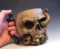 mug sculpture cthulhu Ceramic Plates, Ceramic Pottery, Cthulhu, Expensive Art, Face Jugs, Cute Coffee Mugs, Coffee Cups, Mugs For Sale, Skull And Bones