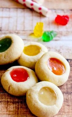 Gummy Bear Thumbprint Cookies, neat for Christmas or any holiday.