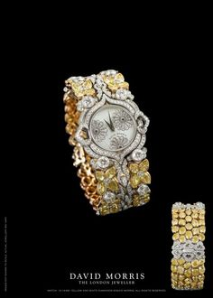 David Morris Watch Diamond and Yellow Sapphires? ♥≻★≺♥ - Watches Topia - Watches: Best Lists, Trends & the Latest Styles High Jewelry, Bling Jewelry, Jewelery, Amazing Watches, Beautiful Watches, Swiss Army Watches, Yellow Diamonds, Luxury Watches, Quartz Watch