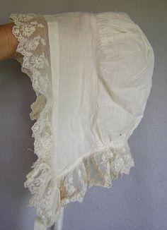 Victorian Lace Ruffled Linen Bonnet