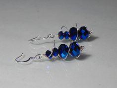 Royal Blue Crystal Swirl Earrings by DaintyJewelrybyTonya on Etsy, $12.00