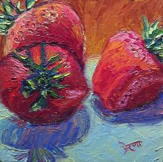"""30 Paintings in 30 days: Day 17: """"Strawberry Trio"""", 6 x 6 inches, Oil on Canvas Panel Available here: https://www.etsy.com/shop/preranap Happy New Year Everyone!"""