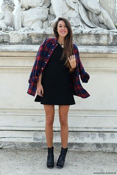Plaid shirt with little black dress, love!