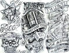 20 Chicano Art Tattoo Designs and Flashes - Money Over Everything Boog Tattoo, Payasa Tattoo, Tattoo Video, Money Tattoo, Inca Tattoo, Tattoo Flash, Art Chicano, Chicano Style Tattoo, Chicano Tattoos Sleeve