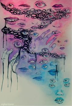 pastels, neons, eyes, lips, artwork, watercolor, watercolors, weekly inspirations, audrey kitching