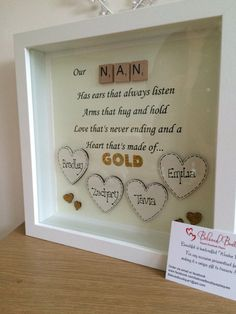 Personalised Nan/Mum Scrabble Heart Frame
