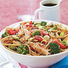 Cold Sesame Noodles with Chicken | All You (January 17, 2014) serves 6 at $1.85 per serving Vary the veggies: toss in a seeded cucumber or sliced Napa Cabbage instead of (or along with) the broccoli, carrots and pepper.  You could also add blanched asparagus or snap peas.