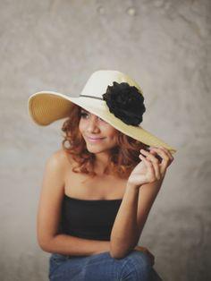 Ebony and Ivory  Floppy Sun Hat with Black by RumraisinA on Etsy, $36.95