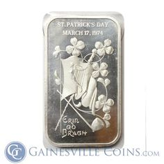 Great Deals On 1974 St. Patricks Day Erin Go Bragh 1 oz Silver Art Bar Madison Mint Pure At Gainesville Coins. Securely Buy Gold And Silver Online. Buy Gold And Silver, Erin Go Bragh, Silver Rounds, 1 Oz, Holiday Gifts, Mint, Phone Cases, Pure Products, Bar