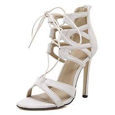 8f17cf0d0e4 Women s Faux Velvet Open Toe Lace Up Strappy Stiletto High Heel Sandal  Black EU 35 - US 5