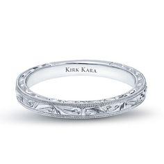 Kirk Kara Carmella 18K white gold hand-engraved wedding ring from the Kirk Kara Carmella collection. $1400