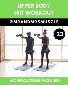 Upper Body Workout – HIIT with modifications - Full Body Workout Upper Body Hiit Workouts, Full Body Hiit Workout, Gym Workout Videos, Fitness Workout For Women, Dumbbell Workout, Body Fitness, Gym Workouts, Training Workouts, Workout Challenge