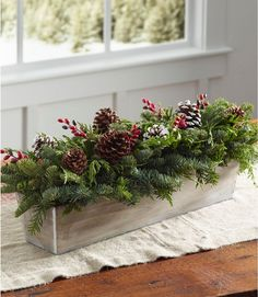 L l bean l l bean woodland berry runner centerpiece Christmas Signs Wood, Christmas Wreaths, Christmas Crafts, Prim Christmas, Christmas Time, Flowers For Christmas, Handmade Christmas, Western Christmas Tree, Christmas Planters