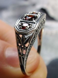 Natural Red Garnet Solid Sterling Silver Filigree Edwardian/Deco Ring, Size 7 #SilverEmbraceReproduction #Cocktail #any