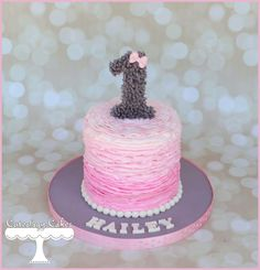 Teddy bear themed smash cake with buttercream ruffles www.facebook.com/i.love.cuteology.cakes
