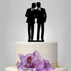 gay silhouette wedding cake topper, same sex cake topper