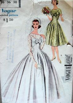 1950s BEAUTIFUL WEDDING GOWN BRIDAL BRIDESMAIDS DRESS PATTERN SLIP, CAP, VEIL, BATEAU NECKLINE VOGUE SPECIAL DESIGN 4962