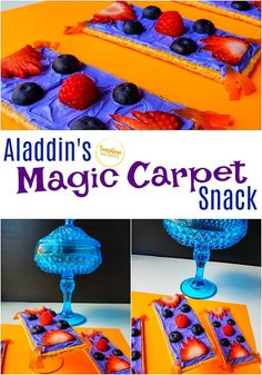 Aladdin's Magic Carpet Snack Can you believe this Aladdin-themed snack is actually healthy? Your kids won't believe it! Such an easy and fun idea for after school, family movie night, or a Disney-themed party! Disney Desserts, Disney Snacks, Disney Food, Disney Themed Food, Disney Inspired Food, Disney Dinner, Disney Day, Disney Movies, Movie Night Snacks