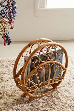 Rattan Magazine Rack - Urban Outfitters Rounded vintage-inspired magazine rack crafted from natural rattan. Only at Urban Outfitters. Modern Vintage Homes, Vintage Home Decor, Vintage Furniture, Rustic Decor, Rattan Furniture, 70s Furniture, Decor Diy, Apartment Furniture, Rustic Wood
