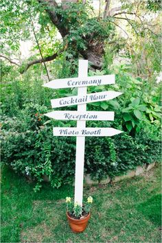 directional wedding sign ideas #weddingsigns #woodensigns  #weddingchicks http://www.weddingchicks.com/2014/01/10/elegant-garden-wedding/