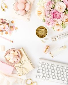 Blush and gold desktop styling