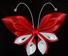 Kanzashi butterfly, made of ribbon, attached to a french barrette, hair accesorie for little girls