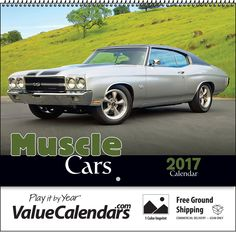 2017 Muscle Car (Spiral) Calendar | Drop Ad Imprint Personalized Appointment Calendars, customized appointment calendar, muscle car calendar, muscle car calendar name logo, fast car calendar, printed business calendar, promotional products calendar, 2017 appointment calendar cars, car lover enthusiast business calendar promo, spiral bound wall calendar business office