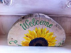 Hand painted Sunflower Welcome Sign on Recycled Wood by MWstyle